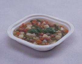 Упаковка супа в контейнеры на запайщике контейнеров Reepack Reetray 25